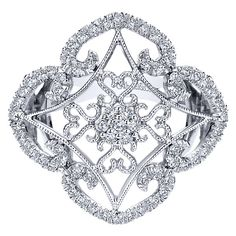 14k White Gold Flirtation Style  Fashion Ladies' Ring With  Diamond