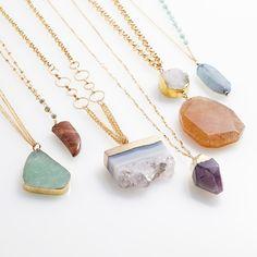 Dress up your neck with a raw semi-precious stone (More like super-precious, right?!) #Express