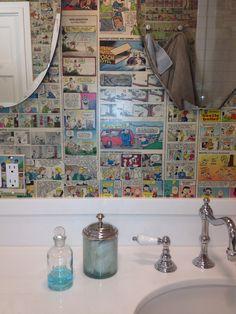 comic strip wallpaper  Bathroom, but with superhero comics for the boys bathroom