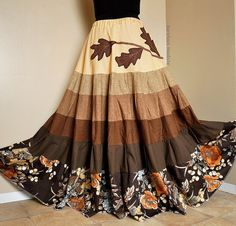 Fallen Oak Trail - One-of-a-kind, appliqued bohemian skirt.    • This 6-tiered patchwork gradient skirt is constructed from a rich, earthy mix of