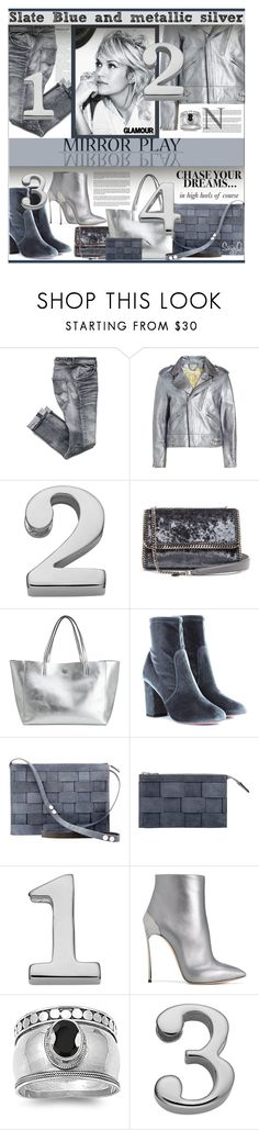 """METALLIC SILVER TREND"" by polyvore-suzyq ❤ liked on Polyvore featuring Golden Goose, Sweet Sentiments, STELLA McCARTNEY, H&M, Aquazzura and Casadei"