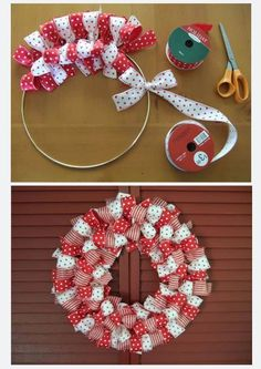 Easy To Make Christmas Ribbon Wreath . tie about 36 bows. Put all bows on the metal ring but use bows made of different ribbons after each other. Noel Christmas, Christmas Wreaths, Christmas Decorations, Winter Wreaths, Spring Wreaths, Summer Wreath, Christmas Colors, Christmas Ribbon Crafts, Christmas Ideas