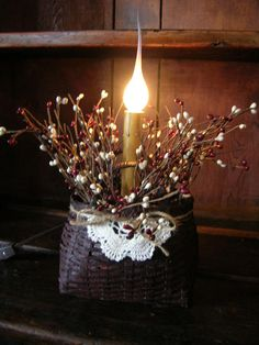 Lighting makes a house a home ~ Handcrafted Basket and Berries Light available at www.finecountrylivingprimitives.com