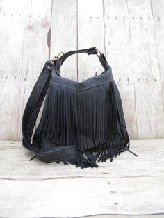 Black Leather Bag, Small Cross Body, Fringe Purses, Southwest Bags, Leather Fringe Bag, Leather Messenger, Black Fringe Bag by 14xbags on Etsy