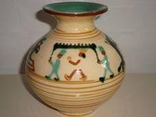 KÄHLER vase H.C. Andersen fairytales H: 15 cm D: 15 cm. År/year 1940-50s. Sign: HAK. #klitgaarden #hermanakähler #kähler #vintagekähler #HAK #danishdesign #danishceramics #danishpottery #danskkeramik #vase SOLGT/SOLD on www.klitgaarden.net..