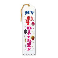 "Pack of 6 White My 4th Birthday Award"" School Award Ribbon Bookmarks 8"""