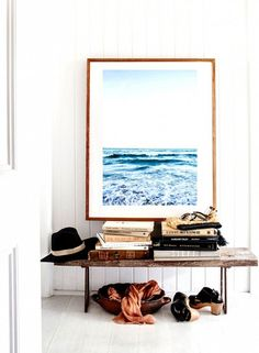This Is Happening: Oversized Statement Art via @domainehome. We love this super-sized print above the entryway bench!