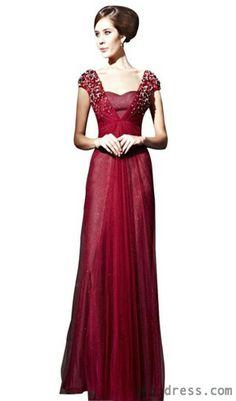 CharliesBridal Burgundy Sweetheart Formal Evening Dress w/ Cap Sleeve Formal Evening Dresses, Prom Dresses, Wedding Dresses, Dress Prom, Long Dresses, Floor Length Gown, Lovely Dresses, Formal Wear, Dress Skirt