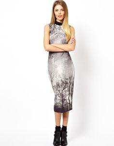 ASOS Polo Forest Print Midi Bodycon Dress