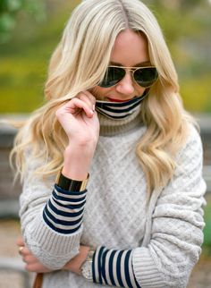 knit turtle neck under a sweater.