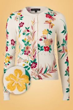 King Louie 50s Stacy Floral Cardigan in Cream