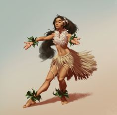 Submission by Rafael Amorim‎‎‎‎* ( ) for the - the theme for July 2019 was Hawaiian People, Hawaiian Woman, Hawaiian Girls, Hawaiian Dancers, Hawaiian Art, Dancer Drawing, Woman Drawing, Character Inspiration, Character Art