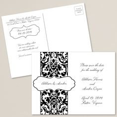 Delightfully Damask Save the Date Postcard | #exclusivelyweddings