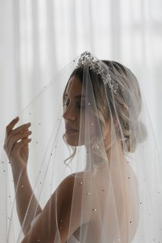 LA LUNA crystal crown 9 Headpiece Wedding, Wedding Veils, Bridal Headpieces, Wedding Crowns, Ivory Wedding, White Wedding Dresses, Midnight Wedding, Bridal Crown, Bridal Looks