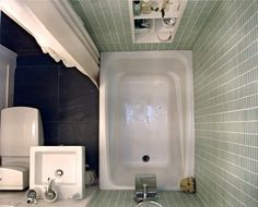 a small tub can fit in a tiny bathroom - this one is just 4 x 6 feet ! small space living small spaces small bathroom space-saver compact bathtub bathroom - March 17 2019 at Small Bathroom Sink Cabinet, Bathroom Layout, Bathroom Interior, Bathroom Ideas, Bathtub Ideas, Bathroom Small, Master Bathroom, Bathroom Designs, Compact Bathroom