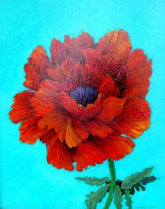 """Red Poppy Art - """"Awakening"""" - Painting by Lorraine Skala - Visit my Etsy Shop to purchase notecards & prints Curio ejs Red Poppies, Red Flowers, Pattern Art, All Art, Flower Art, Amazing Art, Watercolor Paintings, Teal, Turquoise"""