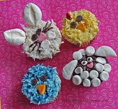cupcakes galare! Bunny, chick, lamp and bluebird - this will be perfect for a farm party