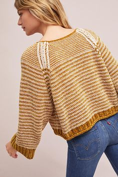 Slide View: 4: Oversized Chenille Striped Pullover