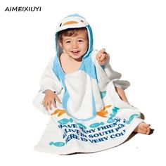 Baby Hooded Wrap Bathrobe Animal Design Beach Towels Kids Cotton Cloak Cape Children Bath Towel Swaddle Blanket for1-5Years