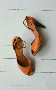 Tan ankle strap peep toes