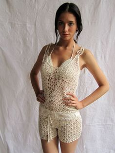 crochet romper 5 Unique Crochet Items from Swimwear Designer Anna Kosturova Crochet Romper, Crochet Shorts Pattern, Crochet Pants, Crochet Skirts, Crochet Clothes, Crochet Bikini, Crochet Top, Crochet Patterns, Lace Romper