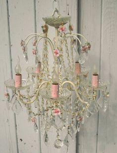 "Shabby vintage chandelier, love the pink ""candles). Shabby Chic Chandelier, Delightful Lighting, Beautiful Chandelier, Vintage House, Shabby, Chic Decor, Lights, Beautiful Lighting, Chandelier"