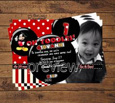 Mickey Mouse Invitation by RaynebowShoppe on Etsy 7th Birthday Party Ideas, Birthday Parties, Mickey Mouse Invitation, Custom Birthday Invitations, Mickey Mouse Birthday, Lets Celebrate, Invitation Ideas, Invites, Handmade Gifts
