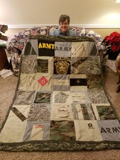 A military memory quilt from uniforms and a few t-shirts. Backing is a wobbie A military memory quilt from uniforms and a few t-shirts. Backing is a wobbie Source by Military Deployment, Military Girlfriend, Military Spouse, Military Families, Army Crafts, Military Crafts, Army Life, Army Mom, Military Retirement Parties