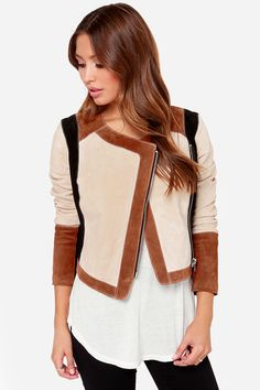 Nude, Brown, Colorblock Chaser Collarless Suede Leather Moto Jacket @ LuLu's $235