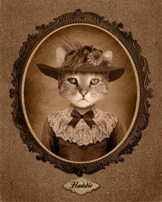 Cat wearing dress & hat portrait art