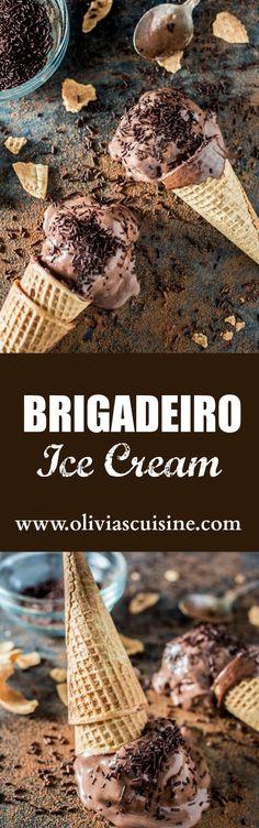 Brigadeiro Ice Cream | http://www.oliviascuisine.com | A fun frozen twist on a Brazilian favorite dessert: brigadeiro.