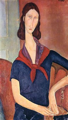 Jeanne Hebuterne (with a scarf), 1919, Oil on canvas , 88 x 56 cm,  Private Collection