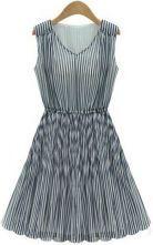Blue V Neck Sleeveless Pleated Chiffon Dress $35.41