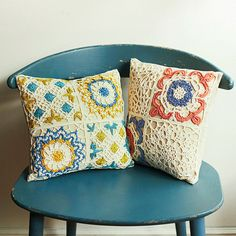 Crochet pillows - for inspiration Crochet Home, Love Crochet, Crochet Motif, Crochet Doilies, Crochet Patterns, Crochet Flowers, Crochet Cushion Cover, Crochet Cushions, Pillow Inspiration