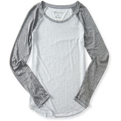 Aeropostale Sheer Long Sleeve Heathered Raglan Tee ($16) ❤ liked on Polyvore featuring tops, t-shirts, med heather grey, sheer top, sheer long sleeve tee, long sleeve tops, aeropostale t shirts and sheer t shirt