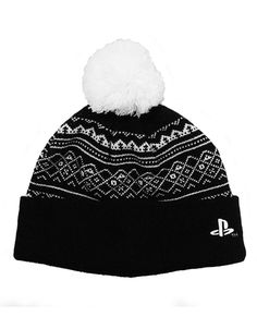 92fd5d93c50 Playststion Beanie Hat Classic Logo PS4 Gamer Black Bobble Hat
