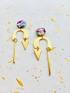 Funky Asymmetric Earrings. Unique Brass Earrings. Handmade Brass Earrings. Recycled Brass Earrings. Colourful Brass and Polymer Clay earrings. Quirky Earrings. Funky Brass Earrings. Statement Brass Earrings. Unique Mismatch Earrings. Long Arch Earrings.