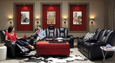 Small home theater contemporary media room - Cheap living room furniture packages ...