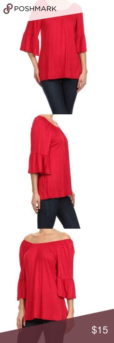 Cezanne Red XL Ruffled 3/4 Bell Sleeve Boho Tunic Red tunic top  with flattering cinched boat neckkine Ruffled 3/4 Bell sleeves 95% rayon 5% spandex  Good used condition. Make an offer or hit the bundle button for a private discount  ***SMOKE and pet free home Cezanne Tops