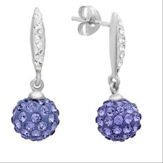 Sterling Silver Dangle Earrings made with Purple and White Swarovski Crystals *** Read more  at the image link. (This is an affiliate link and I receive a commission for the sales)