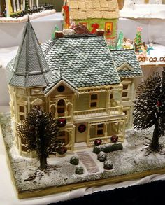 Victorian gingerbread and white chocolate house