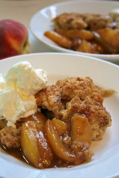 peach cobbler. With fresh peaches. I think peach cobbler is my favorite, sounds yummy!