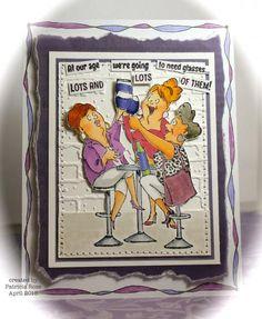 "Art Impressions' ""Wine Tasters Set"" SKU 769151 available through Hampton Art at Michael's ... handmade Ai Girlfriends card."