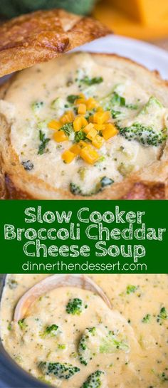 Slow Cooker Broccoli Cheese Soup - Dinner, then Dessert Slow Cooker Broccoli Cheddar Cheese Soup is the perfect soup for this cold wintery weather that even your kids will love and it takes just a few minutes of prep. Crockpot Broccoli Cheddar Soup, Cheesy Broccoli Soup, Slow Cooker Broccoli, Cheddar Cheese Soup, Broccoli Recipes, Broccoli Cheese Soups, Slow Cooker Soup Vegetarian, Vegetarian Barbecue, Nacho Cheese