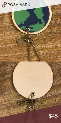 NWOT Coach Globe/World Key Chain Fob, Purse Charm Never used. Item #54912 Retail $70 Coach Accessories Key & Card Holders