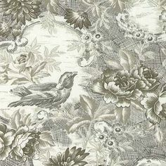 Floral+Bouquets+and+Fancies++5FB+65+Toile+-+Green+Toile+with+birds+