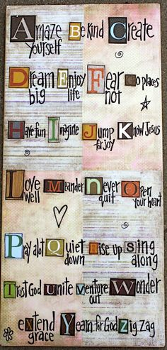 "6 - Take inspiration from this art piece from Creative Works by Connie to create an ""ABC's of You"" Layout. (You can make it about yourself, someone else, etc. ... be creative!) - 2 pts"