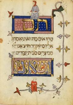 The Prato Haggadah, Spain, 1300, fol. 6v. The simple son and the son who doesn't know how to ask. Hebrew Medieval Illumination.