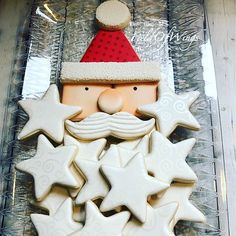 santa with a star beard cookie platter. Iced Sugar Cookies, Star Cookies, Christmas Sugar Cookies, Christmas Sweets, Cute Cookies, Royal Icing Cookies, Holiday Cookies, Cupcake Cookies, Christmas Baking