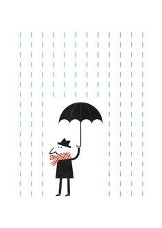 It's raining. Mr. by blancucha on Etsy